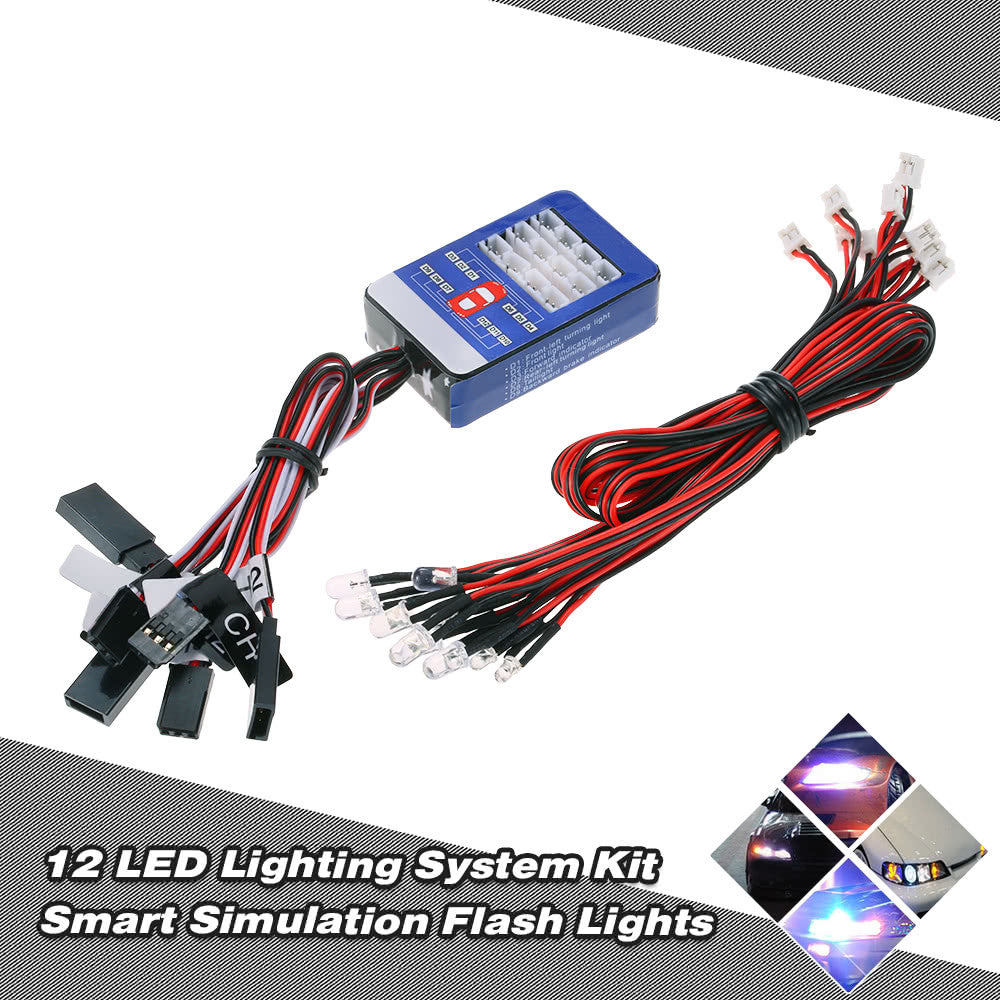 12 LED Lighting System Kit Steering Brake Smart Simulation Flash Lights for 1/10 Scale Models RC Car Yokomo Tamiya HSP HPI AXIAL RC4WD Traxxas