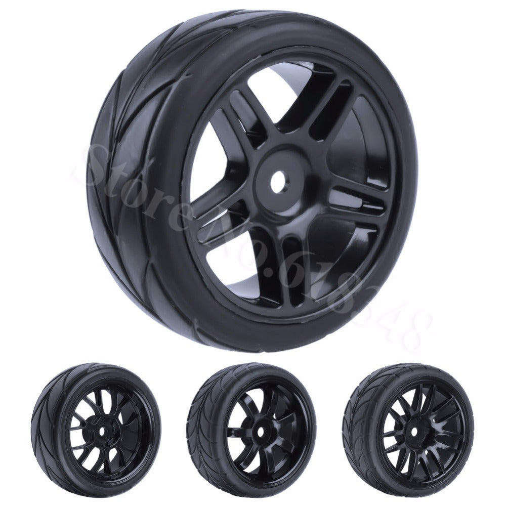 4Pcs RC Tire & Wheel Rim for 1/10 Scale Nitro Power On Road Car HSP Sonic 94102