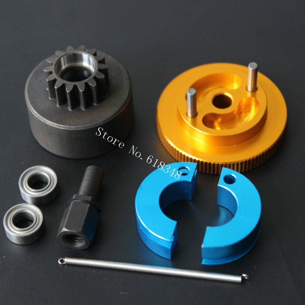 1 Set Clutch bell 14T Shoes & Spring Flywheel with Ball Bearings 5x10x4 mm for Nitro Powered Car Engine parts VX SH 18CXP