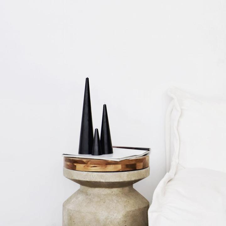 Black Cone Candle Trio