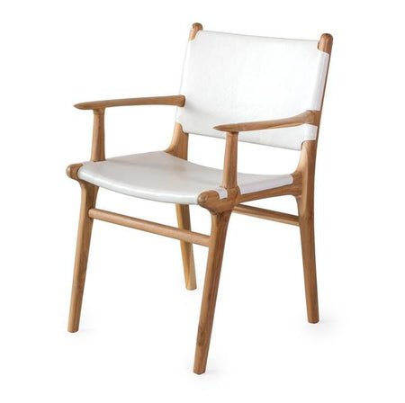 Dining Chair Flat with Arms- White