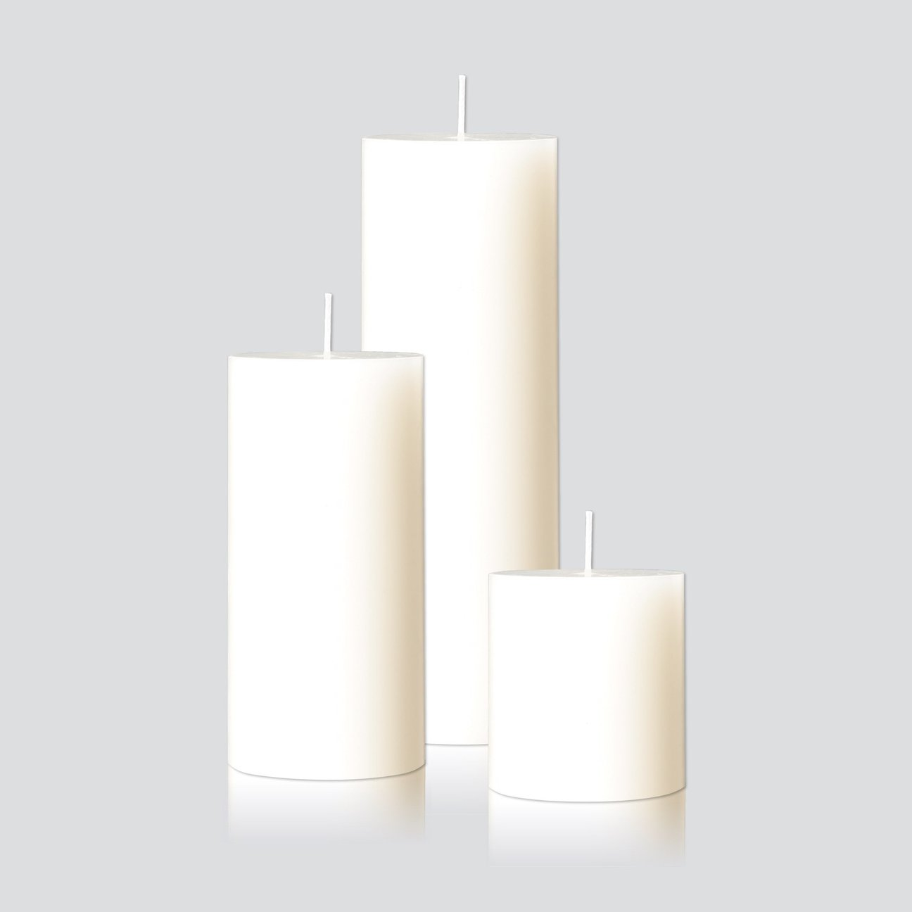 Warm White Pillar Candle Trio- Candle Kiosk