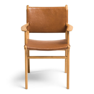 Dining Chair Flat with Arms- Tan