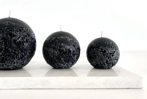 Textured Sphere Black Candle