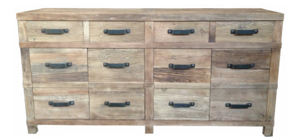 Recycled Elm Buffet- 4 Door 4 Drawer