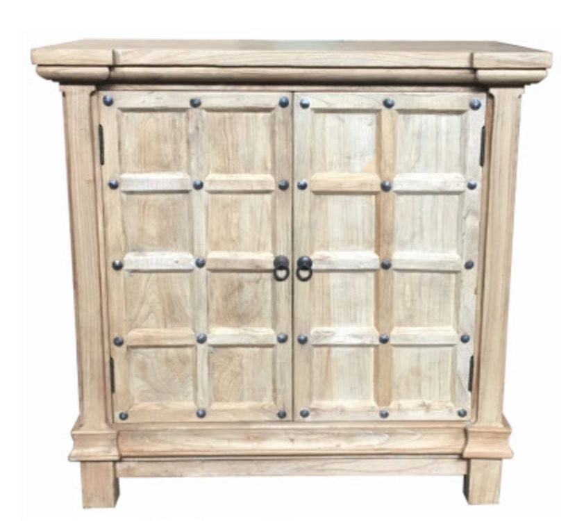 Recycled Elm Studded Cabinet- 2 Door