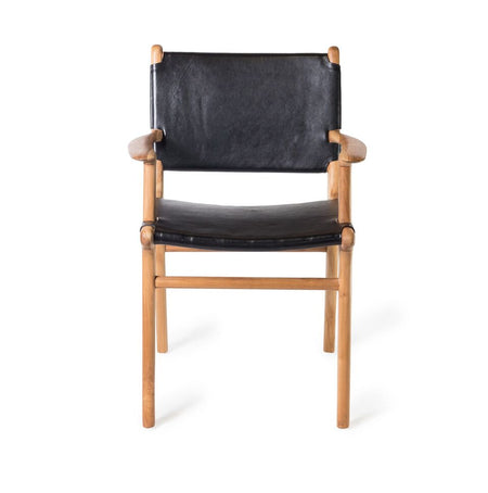 Dining Chair Flat with Arms- Black