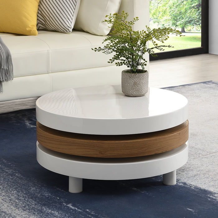 Gomboc 3 Tier High Gloss Rotating Coffee Table 2
