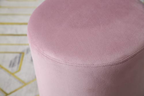 MIA Plush Velvet Stool Pouffe with Golden Accents Pink 3