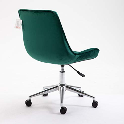 Cherry Tree Furniture Cala Vintage Pine Green Colour Velvet Desk Chair Swivel Chair with Chrome Feet