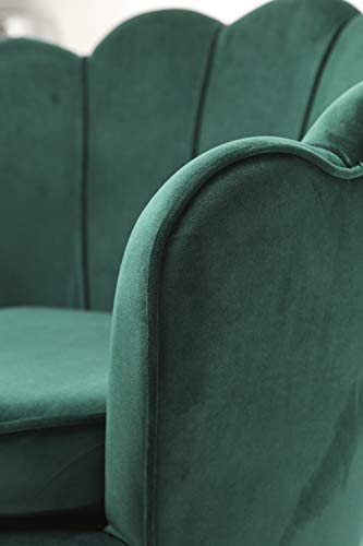 HEPBURN Scalloped Velvet Armchair Tub Chair Green 3