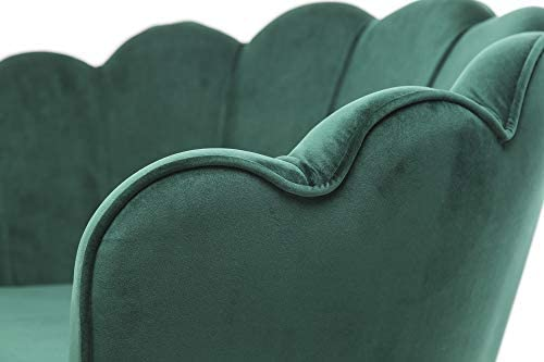 HEPBURN Scalloped Velvet Armchair Tub Chair Green 4