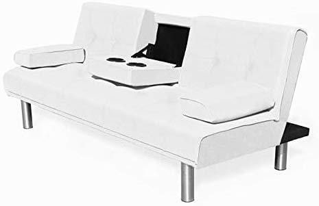 ACRUX 3 Seater Sofa Bed Sleeper Sofa White PU 2