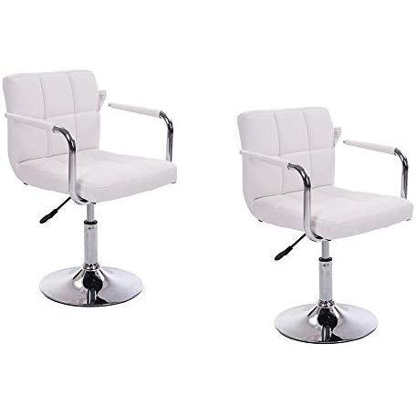 Cherry Tree Furniture White Faux Leather Swivel Chair with Removable Armrests MB42 Style 1
