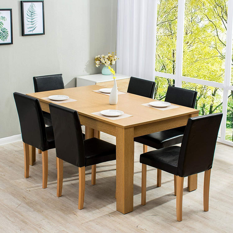7-Piece Dining Room Set 6-Seater Dining Table with 6 Chairs Oak Effect