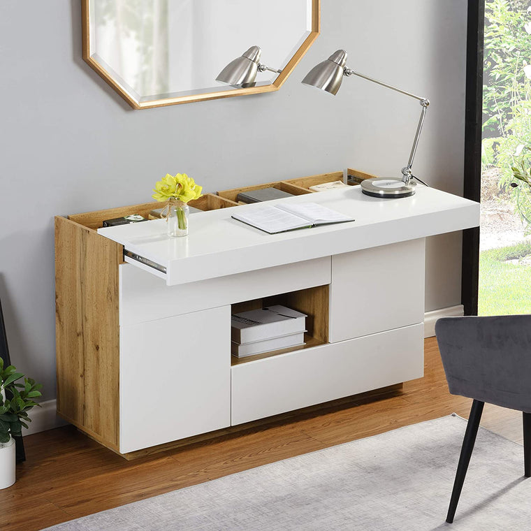 Yukon High Gloss White 2 in 1 Desk or Sideboard with Extendable Top