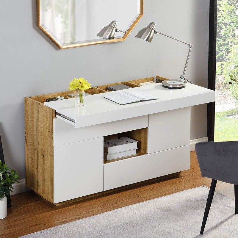 Yukon High Gloss White 2 in 1 Desk or Sideboard with Extendable Top 1