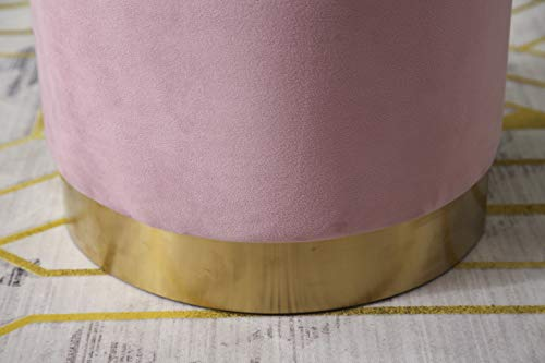 MIA Plush Velvet Stool Pouffe with Golden Accents Pink 4