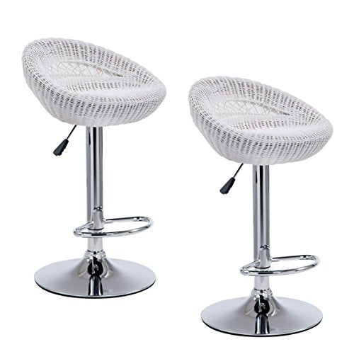 set of 2 wicker rattan high swivel bar stools kitchen stools mb212 white