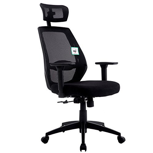 Mesh Fabric High Back Swivel Office Chair with Adjustable Armrests, Lumbar Support & Headrest, Black