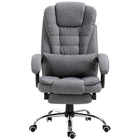 Executive Reclining Computer Desk Chair with Footrest, Headrest and Lumbar Cushion Support Furniture Grey Fabric
