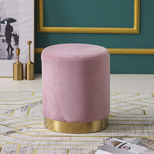 MIA Plush Velvet Stool Pouffe with Golden Accents Pink