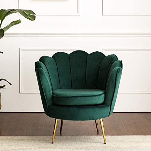 HEPBURN Scalloped Velvet Armchair Tub Chair Green 2
