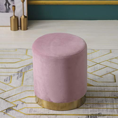 MIA Plush Velvet Stool Pouffe with Golden Accents Pink 2