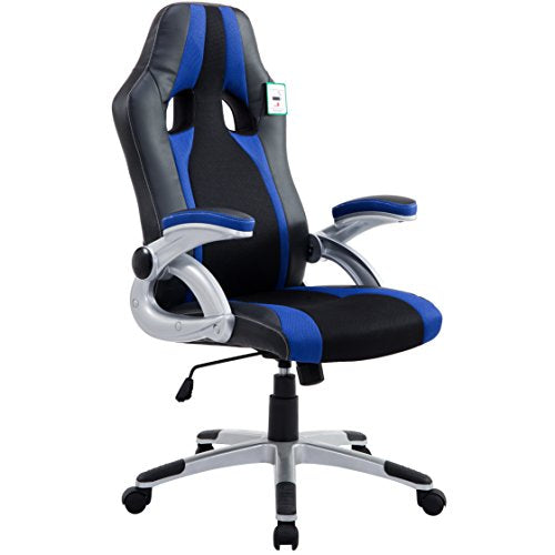 CTF High Back PU Leather & Fabric Racing Gaming Swivel Chair with Adjustable Armrests, Blue
