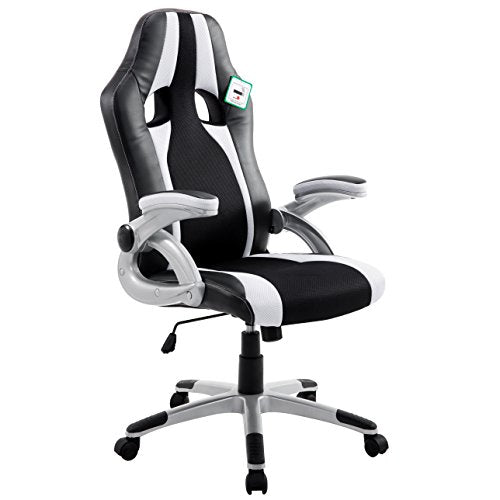 ctf high back pu leather fabric racing gaming swivel chair with adjustable armrests white