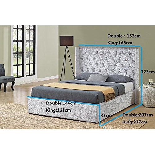 thalassa crushed velvet ottoman bed with diamante headboard gas lift storage