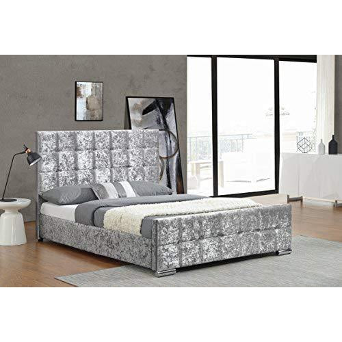 Cherry Tree Furniture Luxurious Crushed Velvet Upholstered Bed Frame Bedstead, Silver