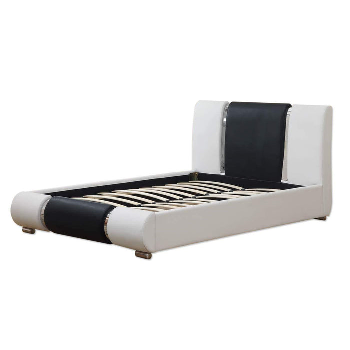 COXA PU Leather Bed Frame with Chrome Feet, Black & White