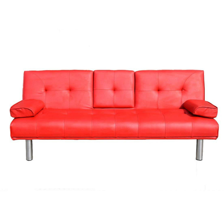ACRUX 3-Seater Sofa Bed with Cup Holders & Cushions, Red PU