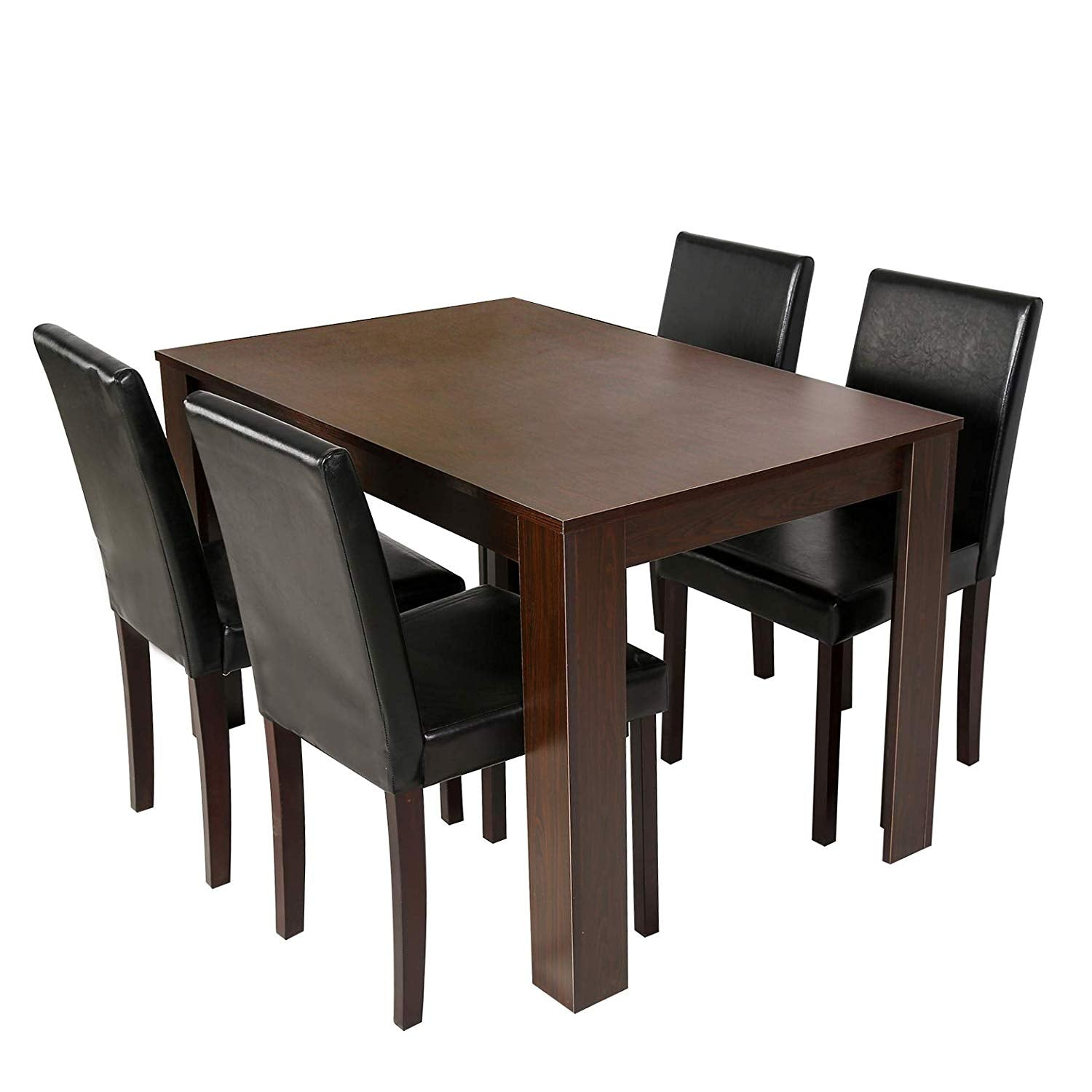 Cherry Tree Furniture 5 Piece Dining Room Set 4 Seater Dining Table With 4 Chairs Walnut Colour Table With Black Pu Leather Seats Shop Designer Home Furnishings