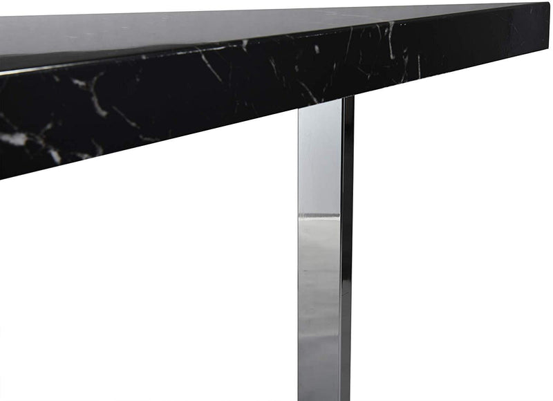 BIASCA 6-Seater High Gloss Marble Effect Dining Table with Silver Chrome Legs Black 8