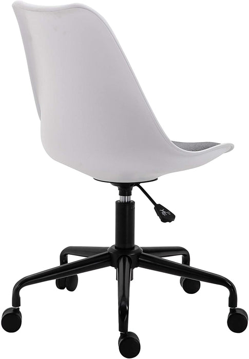 Gerri Swivel Office Chair with Upholstered Seat White 4
