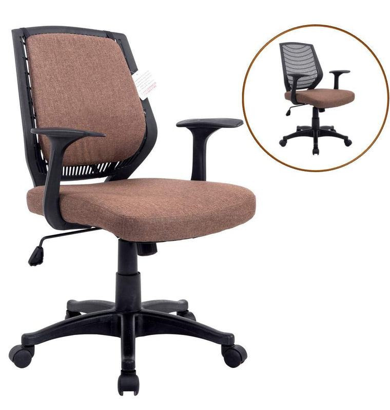 Fabric Medium Mesh Back Desk Office Swivel Chair with Removable Back Cushion, Brown