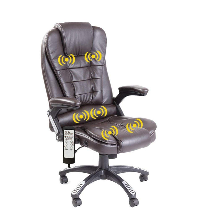 Executive Recline Padded Swivel Office Chair with Vibrating Massage Function, MM17 Brown