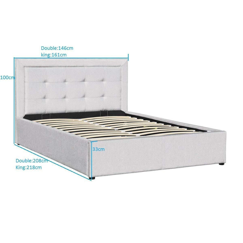 PAVO Ottoman Storage Bed Frame with Gaslift Storage, Light Grey Fabric