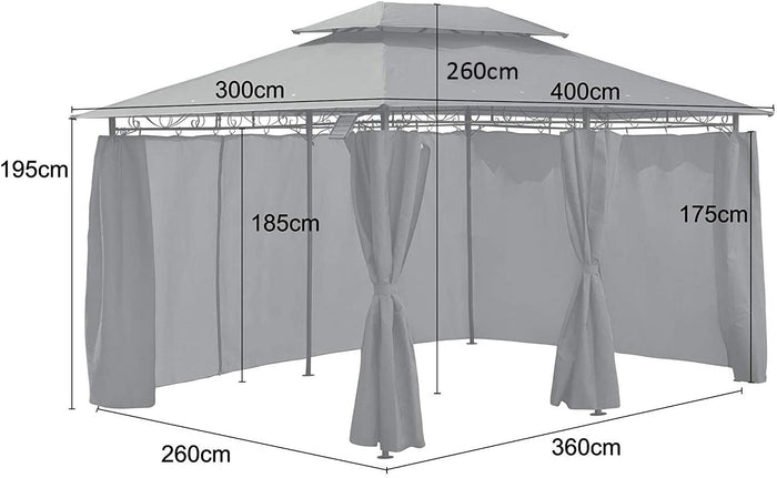 St Lucia 3 x 4m Gazebo with Curtains Canopy Party Tent with 60pcs Solar LED Lights in Beige
