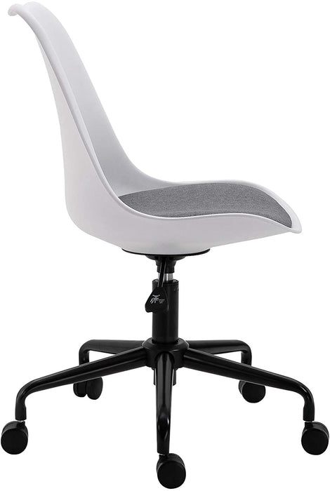 Gerri Swivel Office Chair with Upholstered Seat White 3
