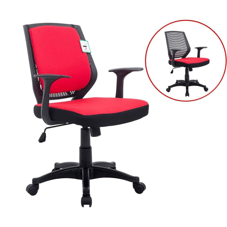 Fabric Medium Mesh Back Desk Office Swivel Chair with Removable Back Cushion, Red