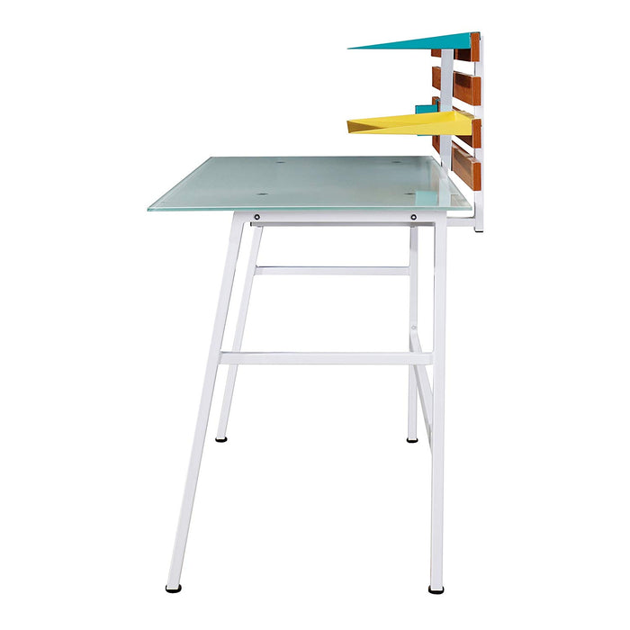 LEROY White Glass Top Writing Desk with White Steel Frame