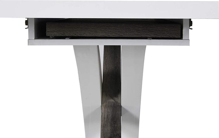 BASEL High Gloss White Extendable Dining Table 6 to 8-Seater with Stainless Steel Base 7