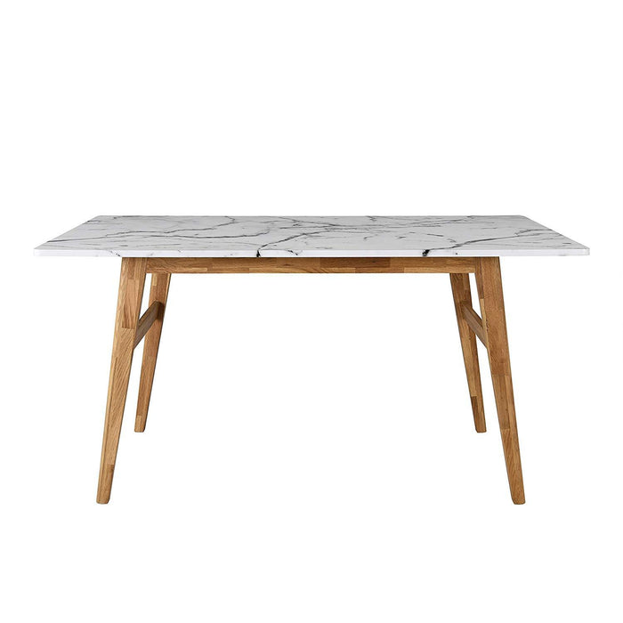 ASCONA White Marble Effect 6-Seater Dining Table with Solid Oak Legs 4