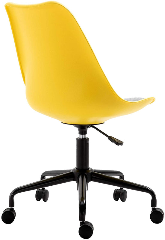 Gerri Swivel Office Chair with Upholstered Seat Yellow 4