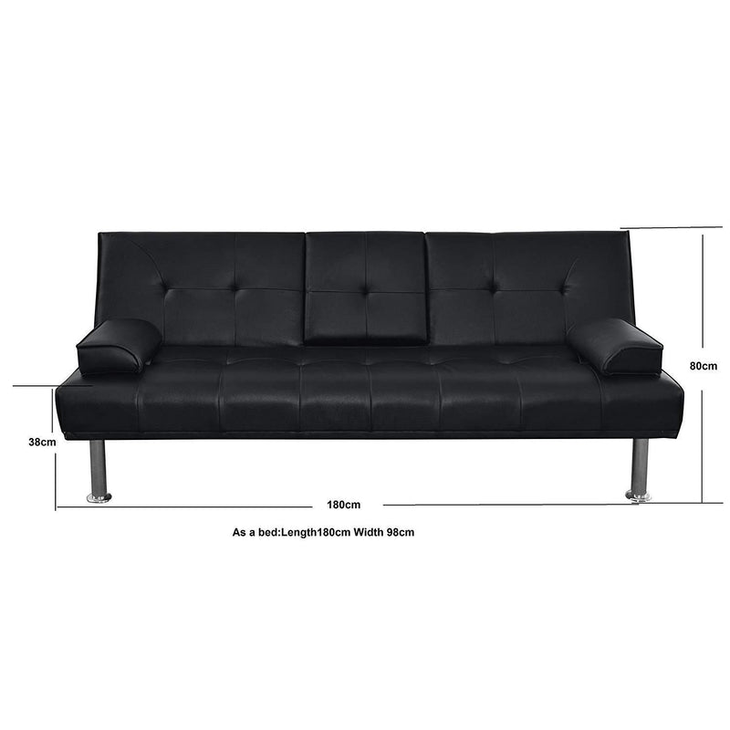 ACRUX 3-Seater Sofa Bed with Cup Holders & Cushions, Black PU