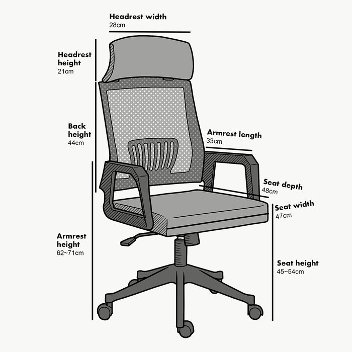 Beni Mesh Fabric Swivel Office Chair with Headrest Grey 5