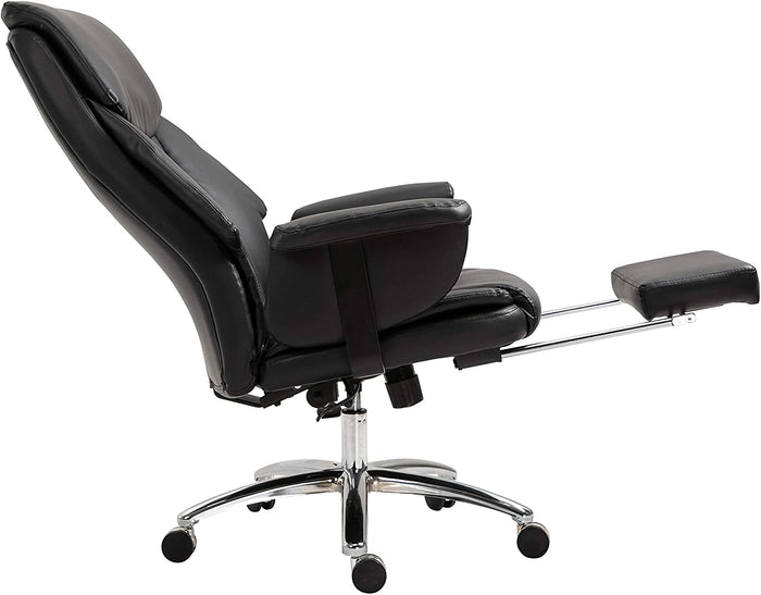Abraham Wingback Style Office Chair with Footrest in Black PU Leather 7